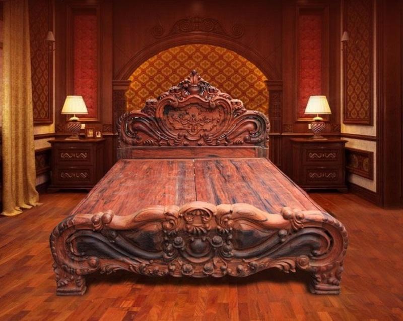 Mẫu giường ngủ điêu khắc hoa văn cổ điện sang trọng