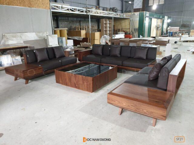 Sofa gỗ óc chó SF21