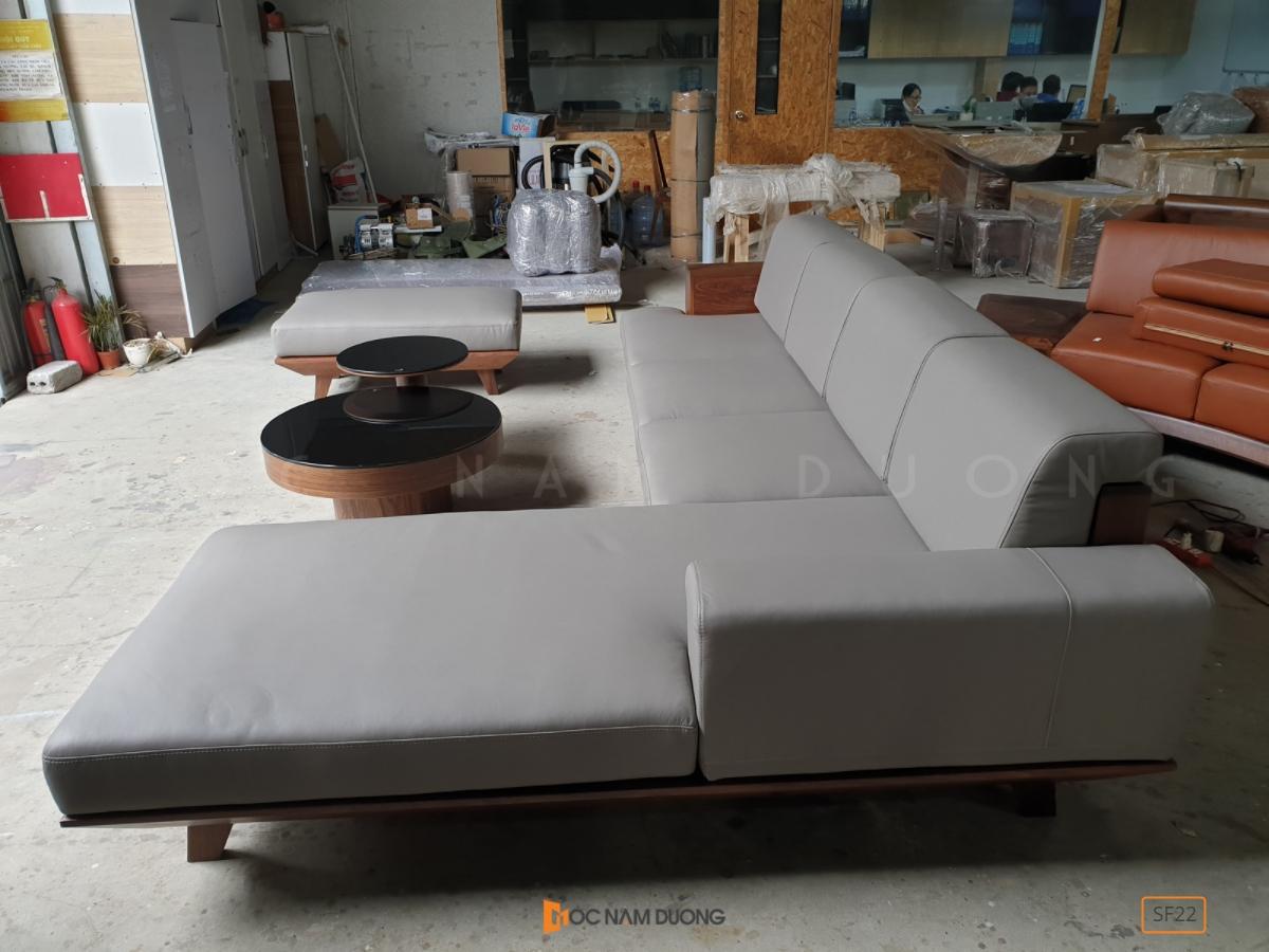 Sofa gỗ óc chó SF22 xưởng sản xuất nội thất gỗ óc chó