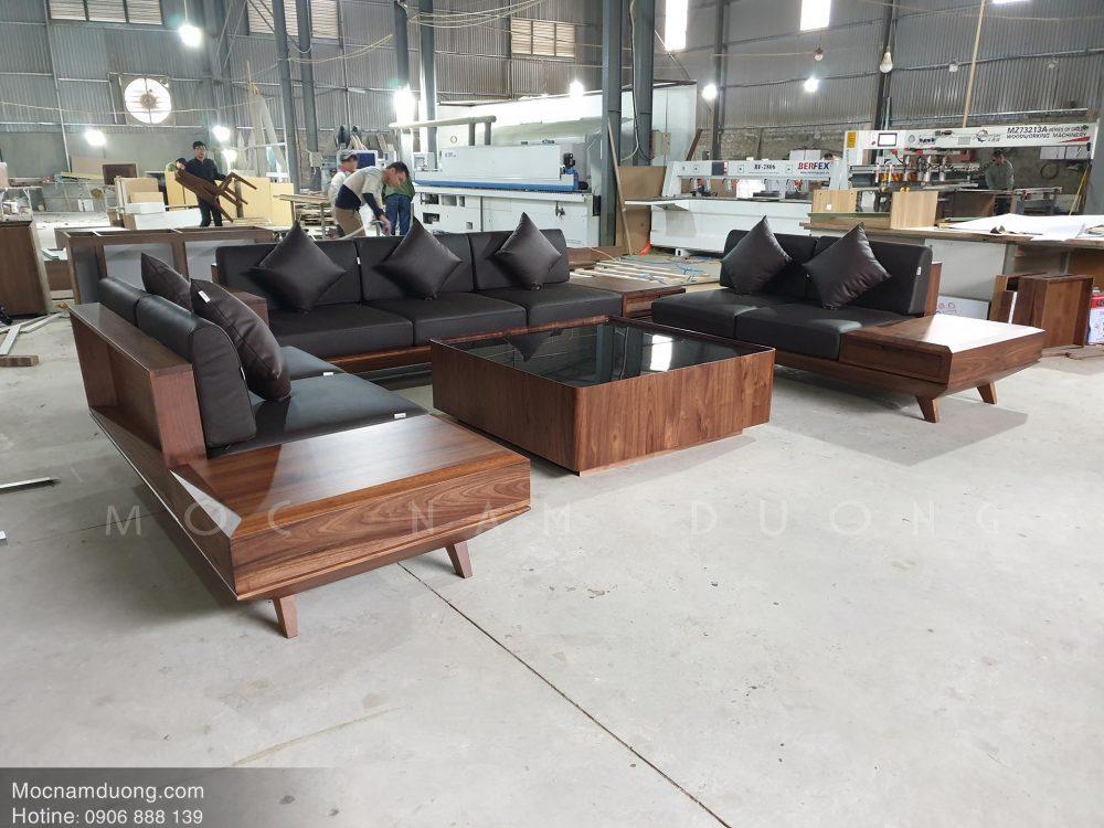 Ghế sofa kết hợp bàn trà gỗ óc chó
