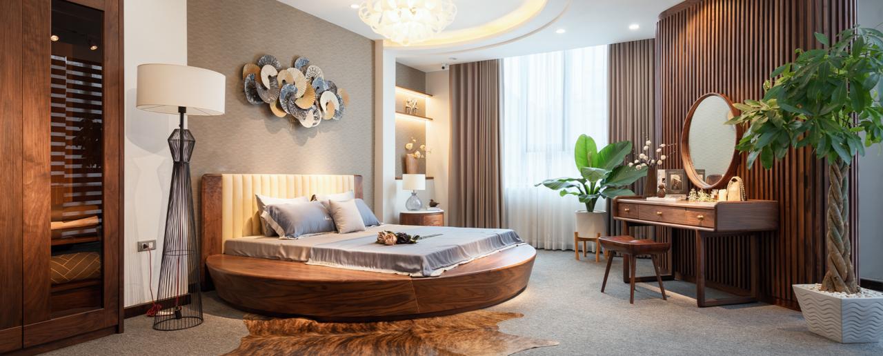 Mẫu giường ngủ hình tròn bọc nỉ trang trí sang trọng cho phòng ngủ