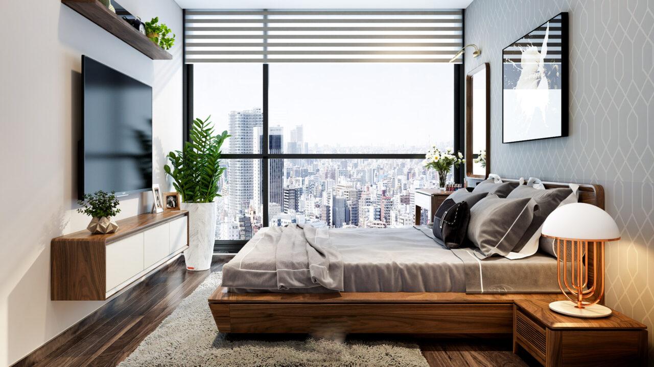 Mẫu nội thất phòng ngủ gỗ óc chó giường vuông truyền thống chắc chắn
