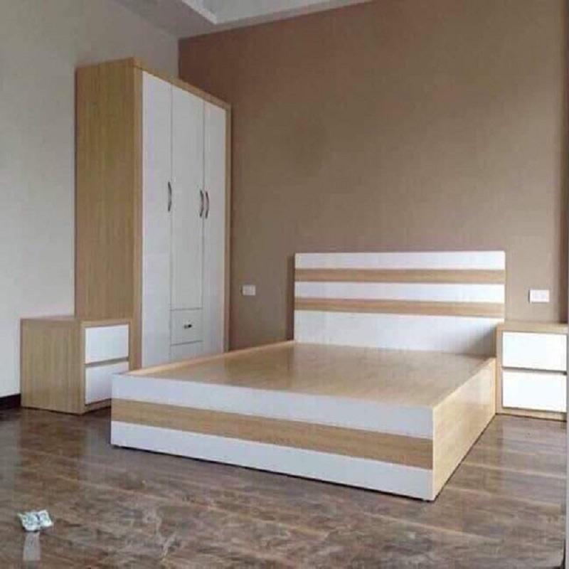 Gường ngủ phủ melamine làm bằng gỗ MDF