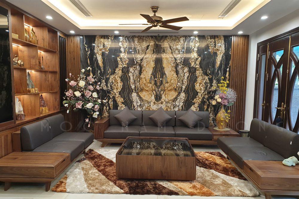 Sofa óc chó chữ U thiết kế sang trọng, nhẹ nhàng
