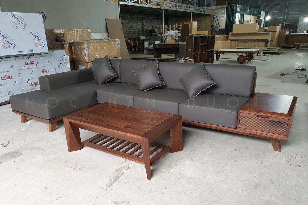 Sofa chữ L bọc da đơn giản, hiện đại