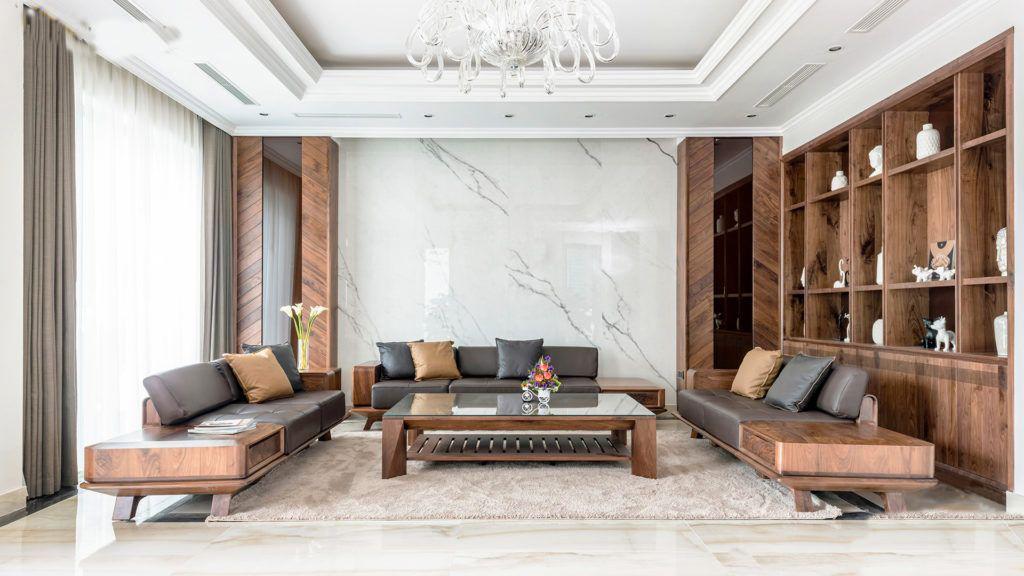 Sofa gỗ óc chó chữ U cho phòng khách rộng