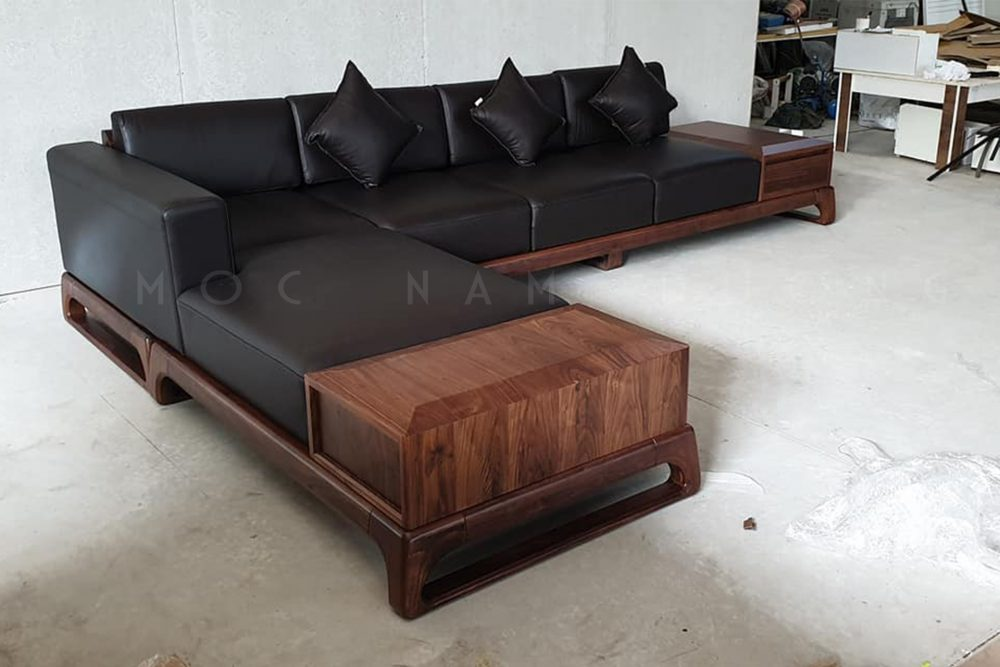 Sofa gỗ óc chó chữ L nhỏ gọn và lạ mắt