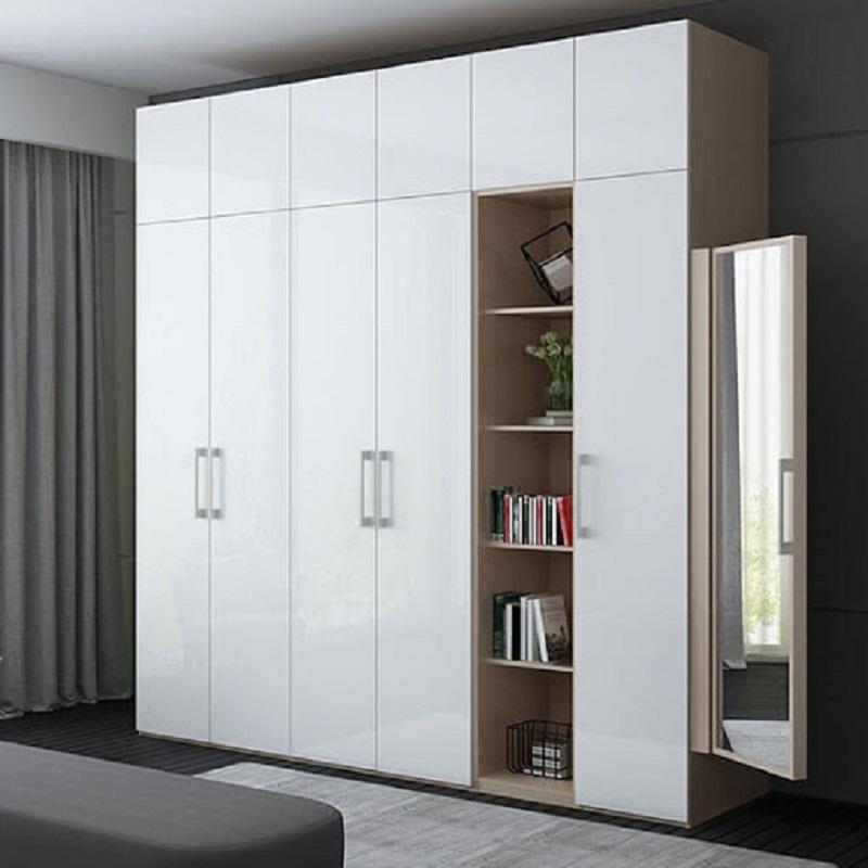 Tủ quần áo màu trắng sang trọng làm bằng gỗ MDF