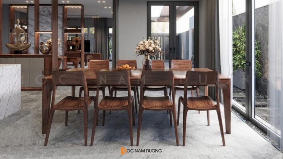 Mẫu 1: Bộ bàn ghế ăn gỗ óc chó 8 ghế đẹp sang trọng