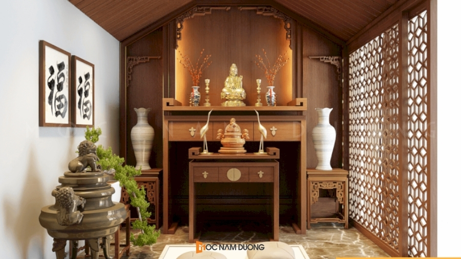 Mẫu 11: Tủ thờ đẹp phong cách tân cổ điển