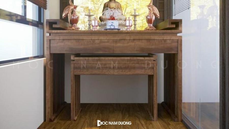 Mẫu 17 bàn thờ gỗ óc chó kiểu dáng đơn giản
