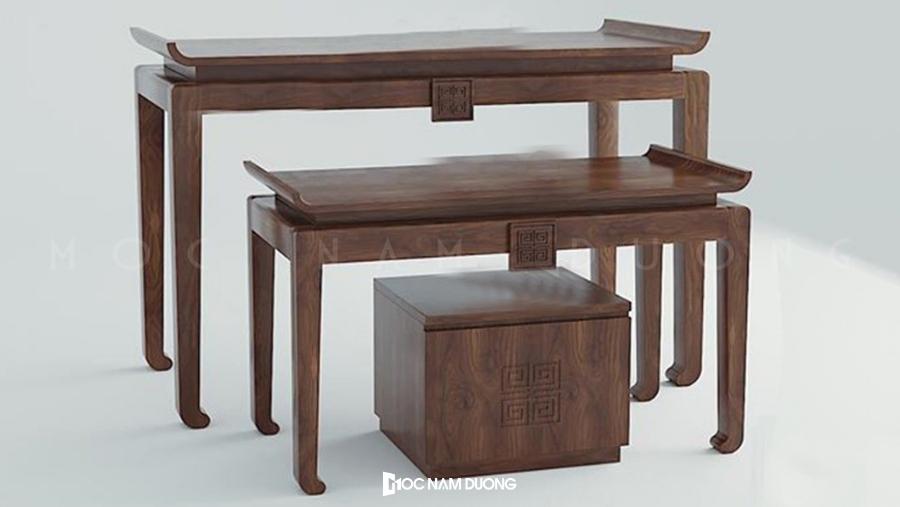 Mẫu 20: Bộ bàn thờ gỗ óc chó 3 chiếc