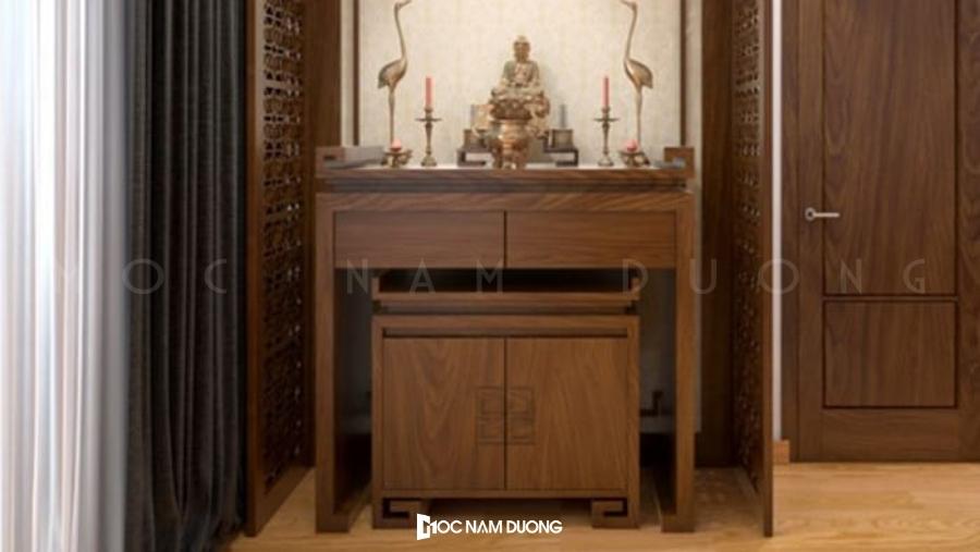 Mẫu 2: Mẫu bàn thờ gỗ óc chó gỗ óc chó màu trầm sang trọng