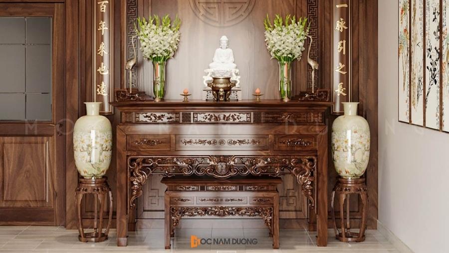 Mẫu 6: Mẫu bàn thờ gỗ đẹp cho không gian biệt thự hoặc không gian rộng