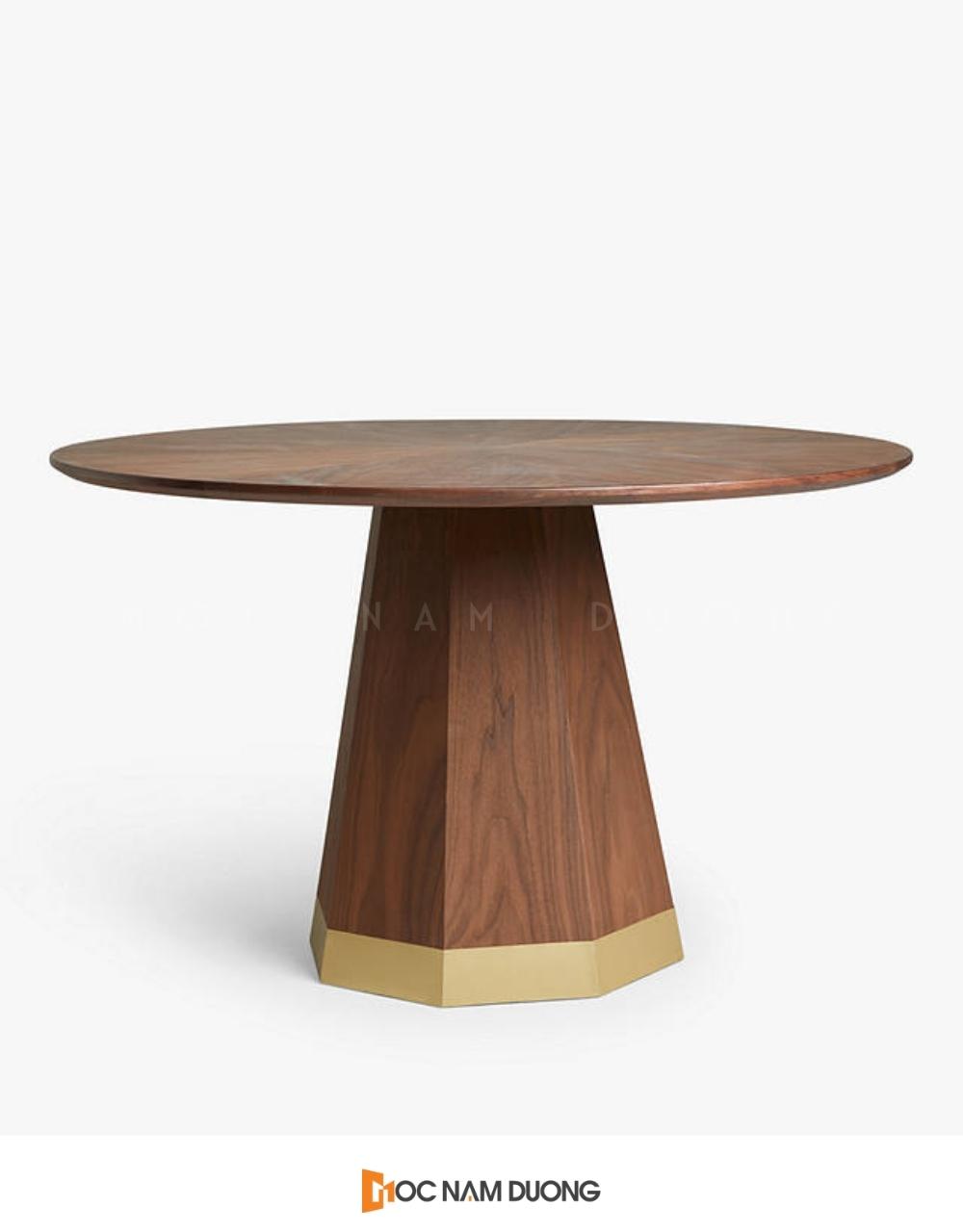 Mẫu 1: Đôn gỗ óc chó trụ kết hợp mặt tròn gọn gàng