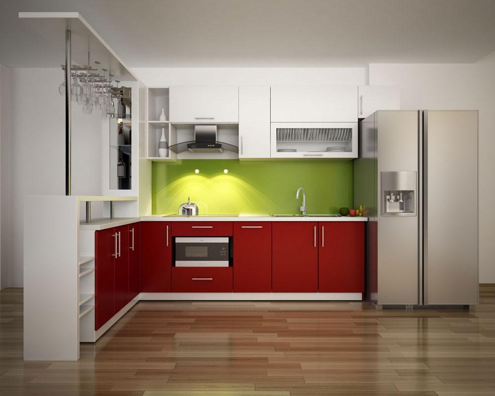 Tủ bếp với bề mặt phủ Acrylic