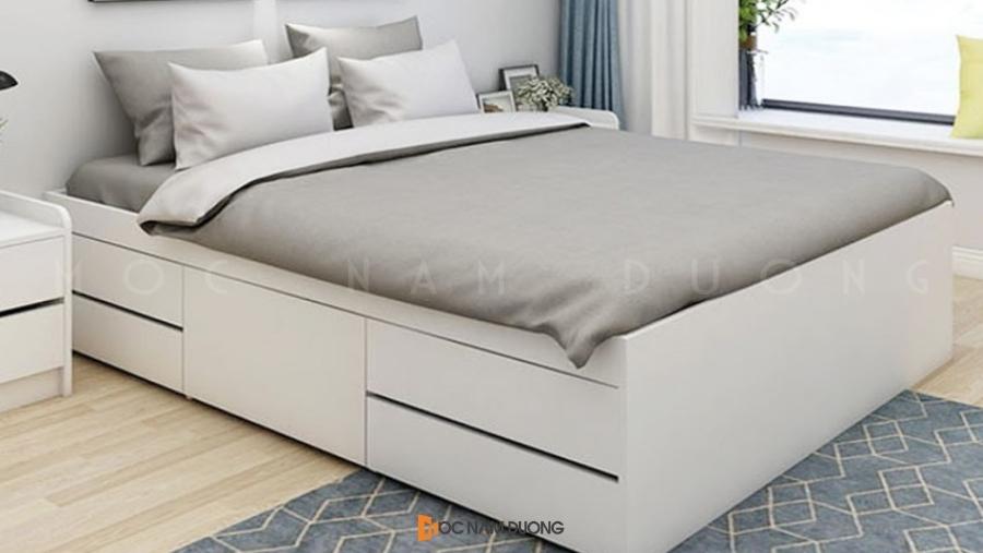 Mẫu 1: Giường ngủ gỗ công nghiệp kết hợp hộc tủ thông minh đựng đồ