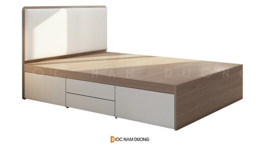 Mẫu 2: Giường gỗ công nghiệp đẹp thiết kế bọc nỉ đầu giường