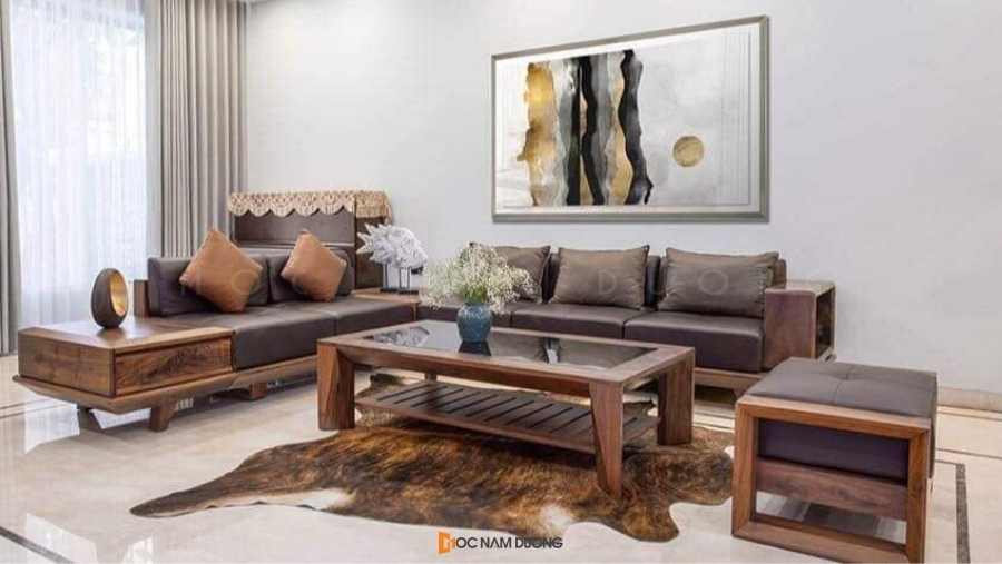 Sofa chữ U, sofa 1-2-3 gỗ óc chó