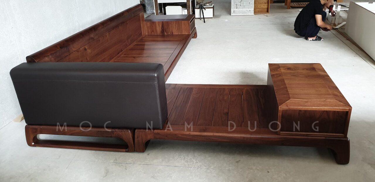 Sofa gỗ óc chó góc L có kết hợp hộc đựng đồ