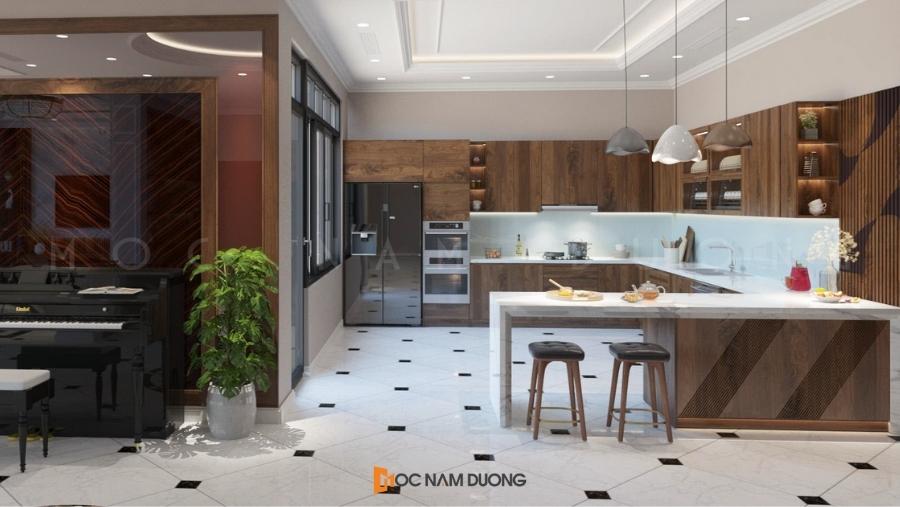 Tủ bếp gỗ óc chó chữ L gọn gàng và thiết kế theo xu hướng mới 2021