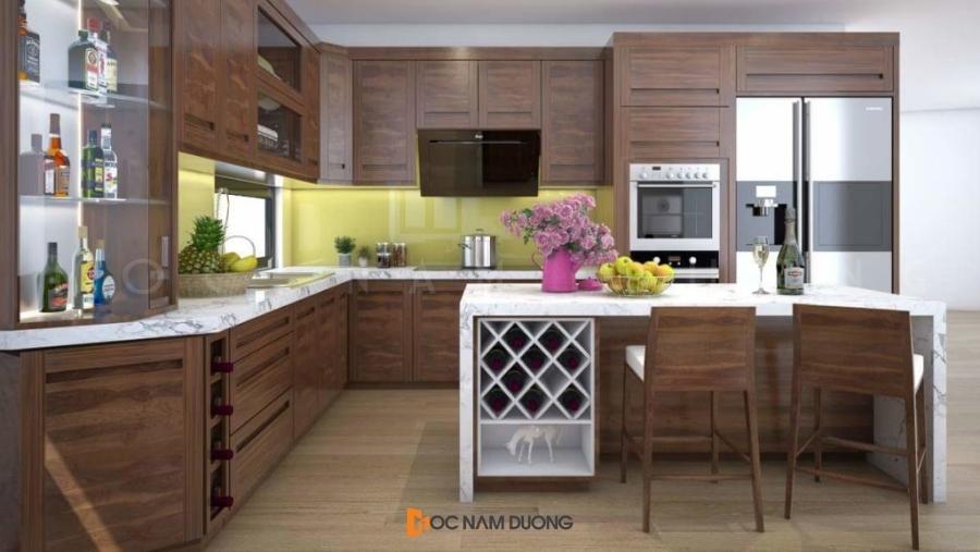 Tủ bếp L hiện đại tone màu nâu trầm sang trọng