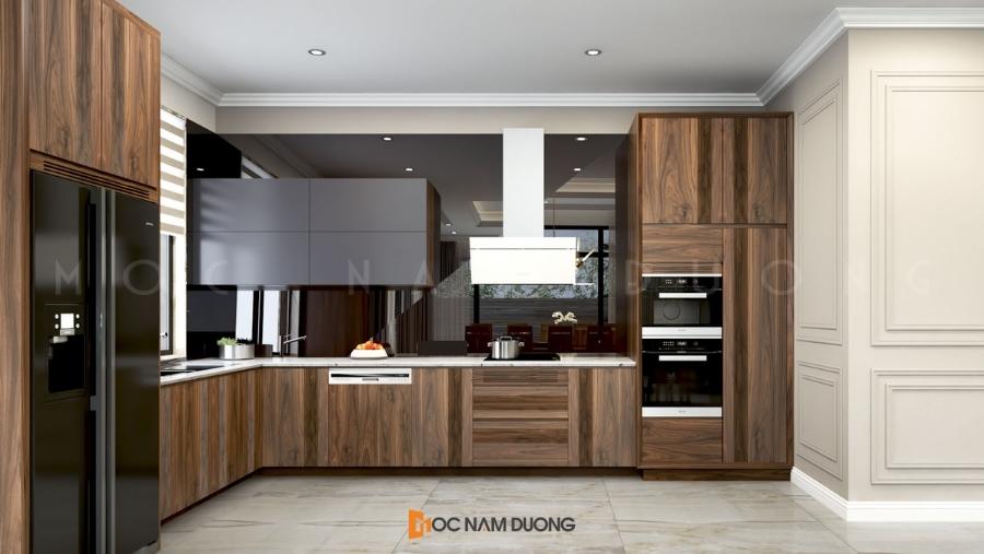 Tủ bếp đẹp chữ L rộng rãi