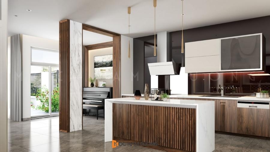 Tủ bếp óc chó đẹp chữ I cho không gian chung cư