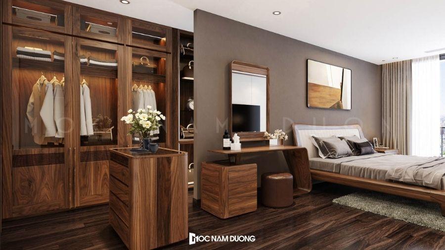 Mẫu 7: Tủ áo phòng ngủ kết hợp kệ di động và cửa kính cường lực