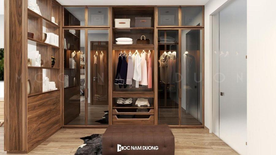Mẫu 12: Tủ áo đa năng kết hợp kệ để mỹ phẩm và cửa kính cường lực