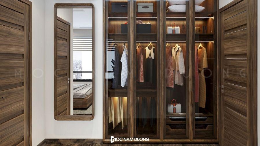 Mẫu 13: Tủ áo gỗ óc chó kết hợp cửa kính – tiết kiệm tối đa không gian sống