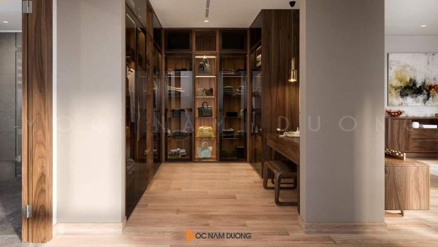 Mẫu 14: Tủ áo đẹp cho nhà rộng full chức năng để đồ, túi xác, giầy dép
