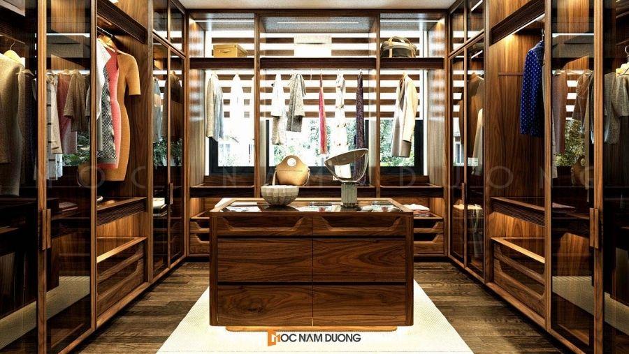 Mẫu 4: Tủ áo thiết kế hình chữ U dành riêng cho phòng thay đồ