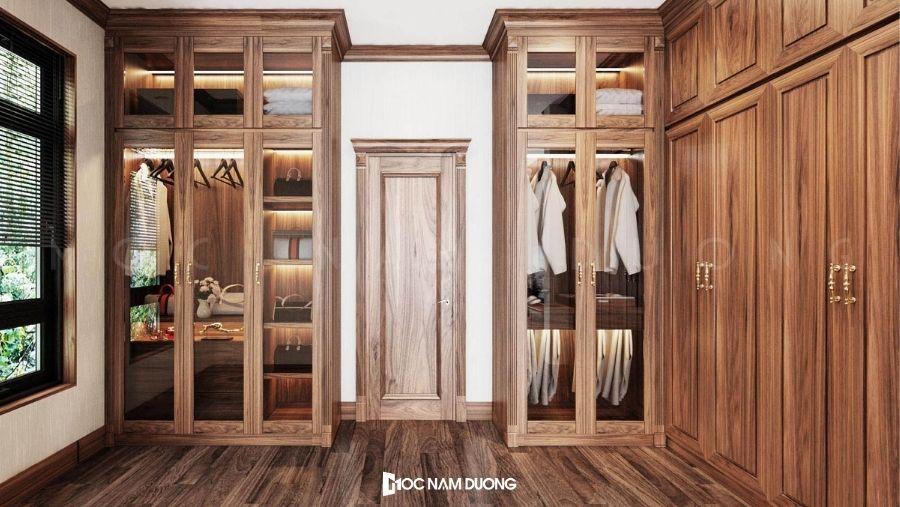 Mẫu 10: Tủ áo đẹp thiết kế phong cách tân cổ điển