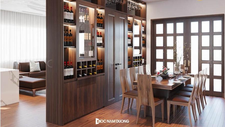 Tủ rượu kết hợp làm vách ngăn phòng khách và phòng bếp