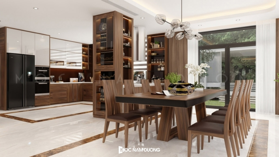 Tủ rượu đa năng kết hợp kệ trang trí phòng bếp