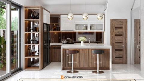 Kiểu nội thất gỗ phòng bếp hiện đại