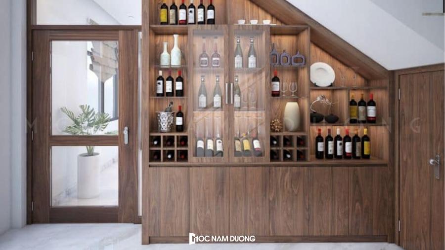 Mẫu tủ rượu gỗ óc chó đẹp cho không gian phòng khách