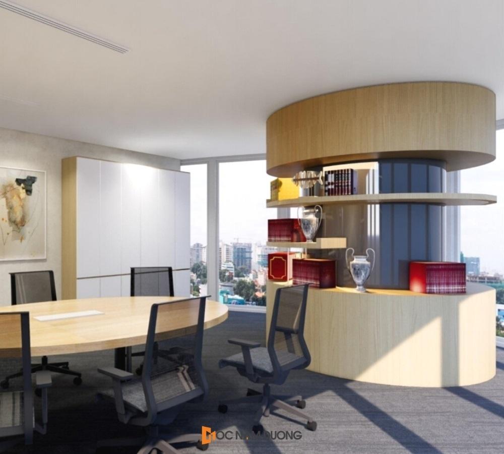 Hình ảnh thiết kế 3D quầy kệ cong văn phòng cao cấp