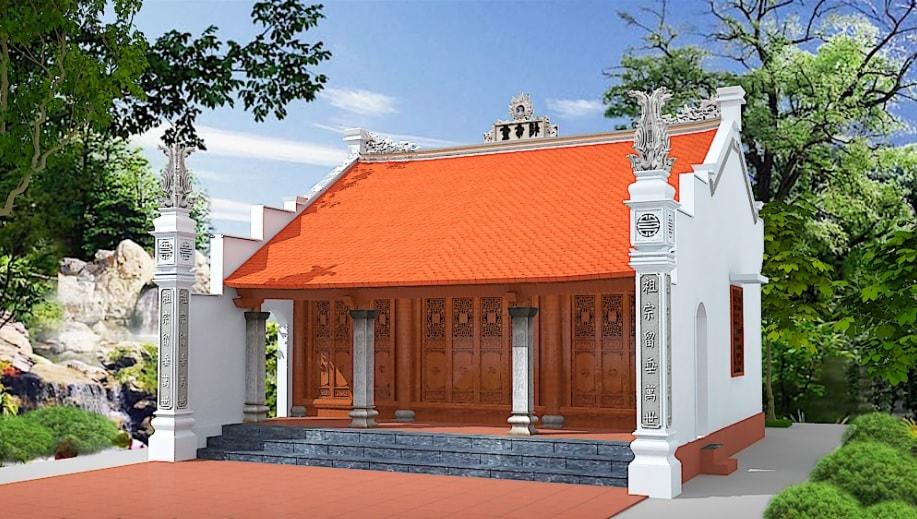 Kiến trúc mái nhà dạng chụp và thấp, che cả diện tích hiên nhà