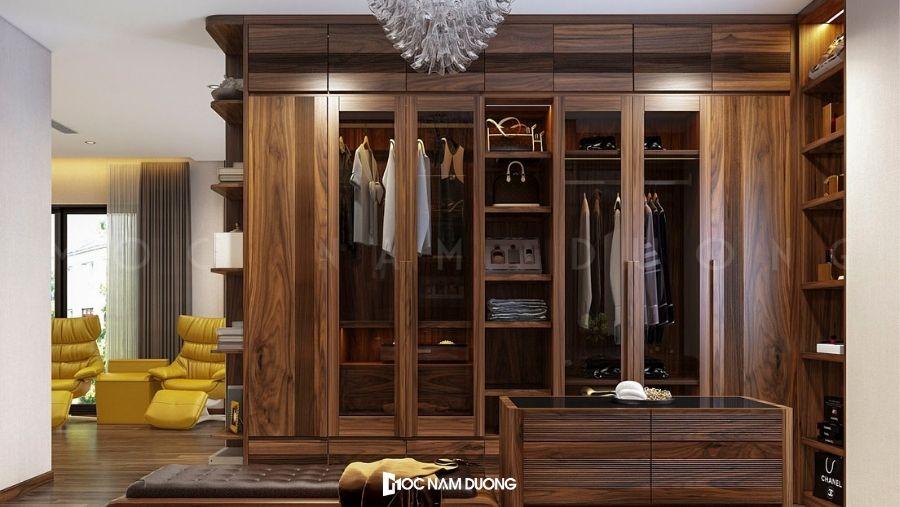 Tủ quần áo gỗ công nghiệp màu trầm đẹp