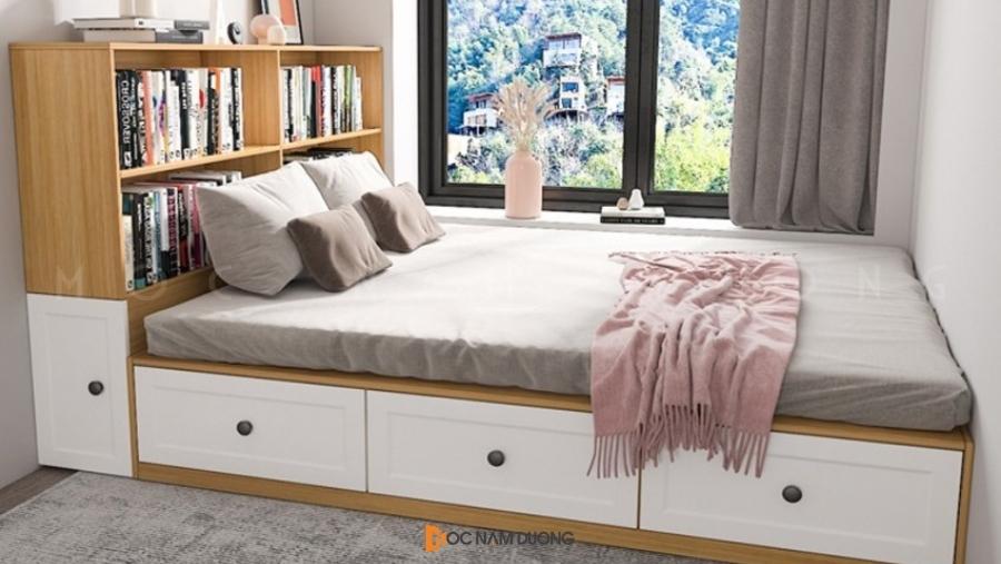 Giường đẹp kết hợp hộc tủ để đồ đầu giường