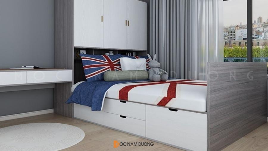 Về giá cả cũng thấp hơn giường gỗ tự nhiên