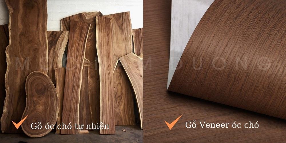 phân biệt được nội thất gỗ veneer óc chó và gỗ óc chó tự nhiên