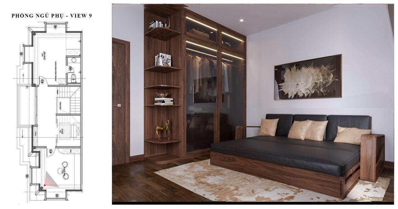 Nội thất vinhome hạng mục phòng ngủ gỗ óc chó