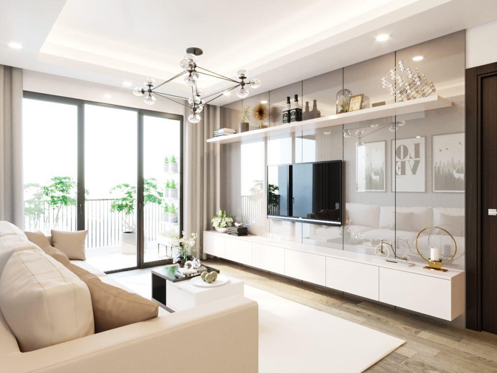 Trang trí nội thất phòng khách bằng gỗ công nghiệp