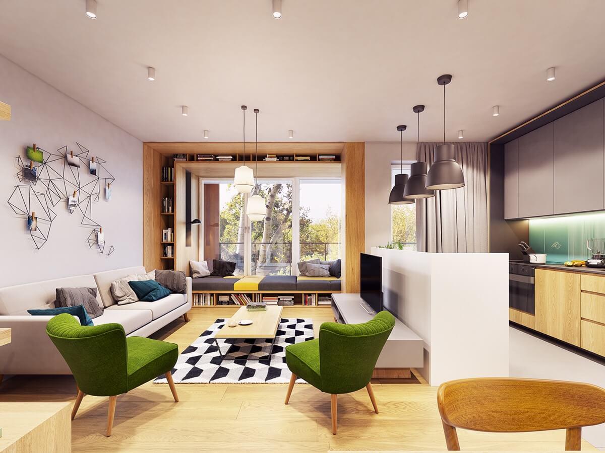 mẫu trang trí nội thất phòng bằng gỗ công nghiệp