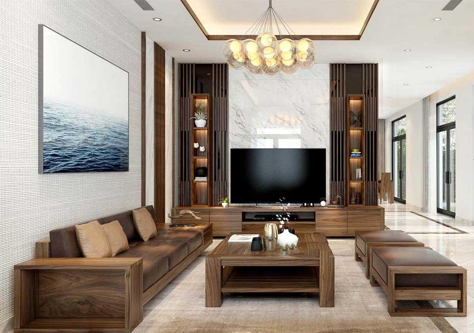 mẫu trang trí nội thất phòng bằng gỗ óc chó tự nhiên