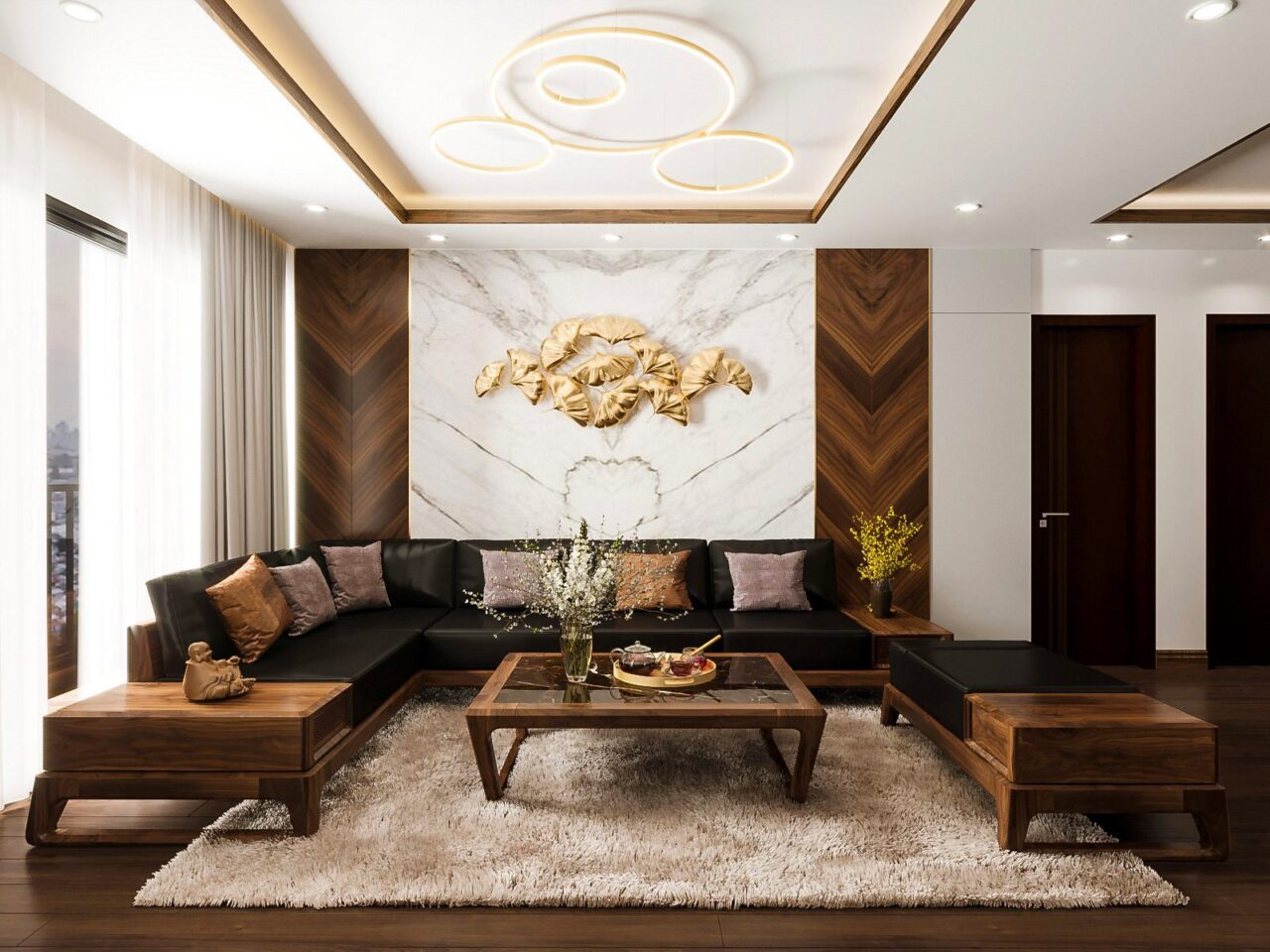 Phòng khách gỗ óc chó bề thế với tone màu nâu trầm của gỗ