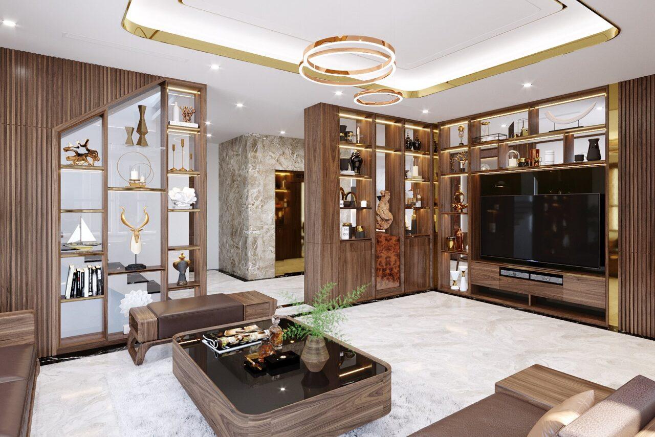 trang trí nội thất phòng bằng gỗ óc chó tự nhiên
